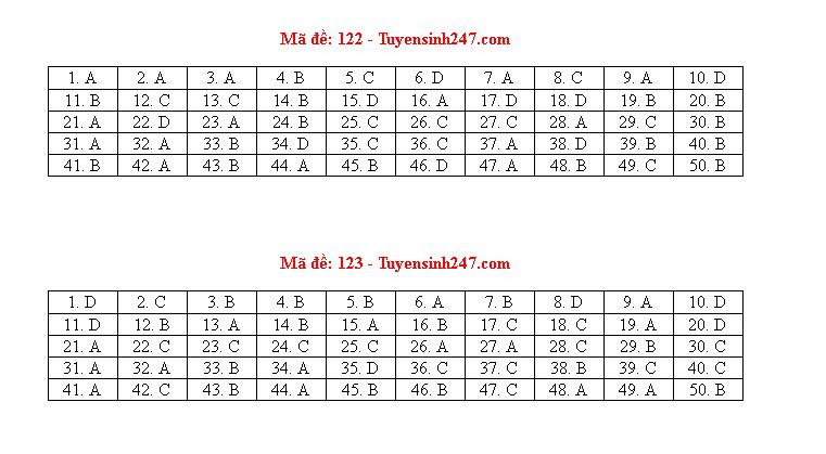 Đáp án, đề thi môn Toán mã đề 122 tốt nghiệp THPT 2020 chuẩn nhất, chính xác nhất - Ảnh 1