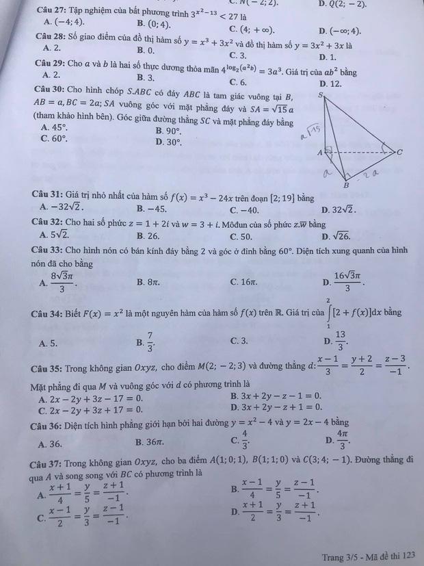 Gợi ý đáp án môn Toán mã đề 122, 123, 124 tốt nghiệp THPT 2020  - Ảnh 6