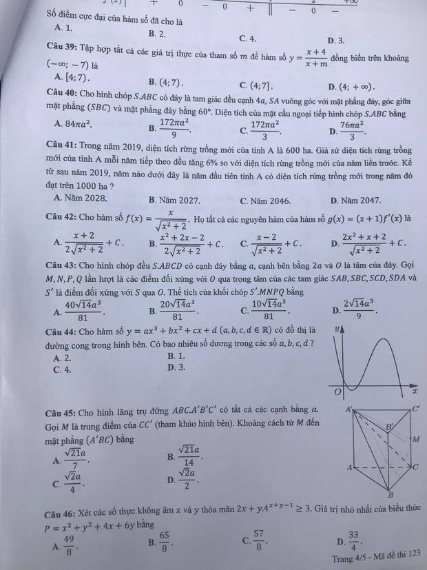 Gợi ý đáp án môn Toán mã đề 122, 123, 124 tốt nghiệp THPT 2020  - Ảnh 7