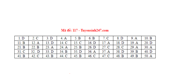 Đáp án, đề thi môn Toán mã đề 117 tốt nghiệp THPT 2020 chuẩn nhất, chính xác nhất - Ảnh 1