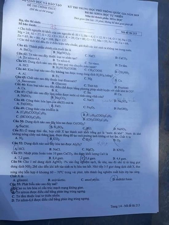Gợi ý đáp án môn Hóa học mã đề 219-220-221 tốt nghiệp THPT 2020 chính xác nhất - Ảnh 2