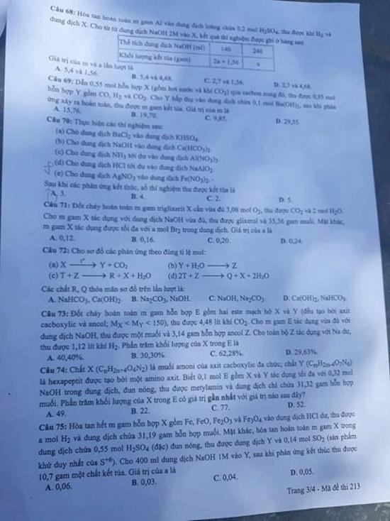 Gợi ý đáp án môn Hóa học mã đề 219-220-221 tốt nghiệp THPT 2020 chính xác nhất - Ảnh 4