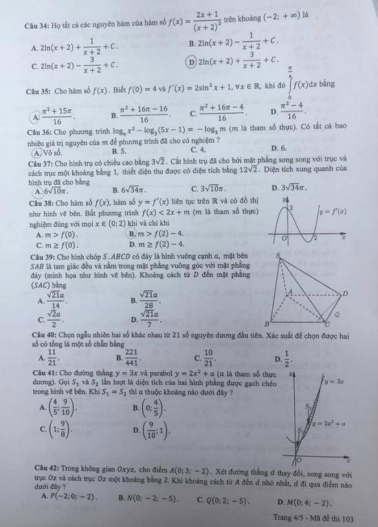 Gợi ý đáp án môn Toán mã đề 116, 117, 118 tốt nghiệp THPT 2020  - Ảnh 7