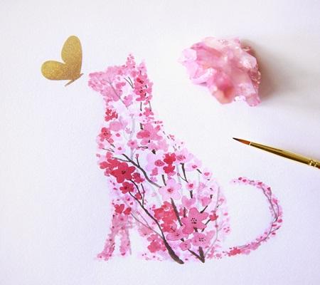 Chiêm ngưỡng bộ tranh động vật lấy ý tưởng từ ... hoa anh đào - Ảnh 2