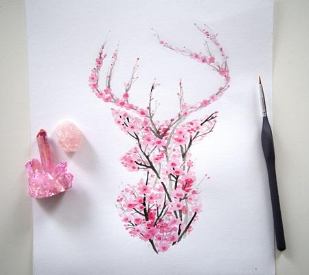 Chiêm ngưỡng bộ tranh động vật lấy ý tưởng từ ... hoa anh đào - Ảnh 1