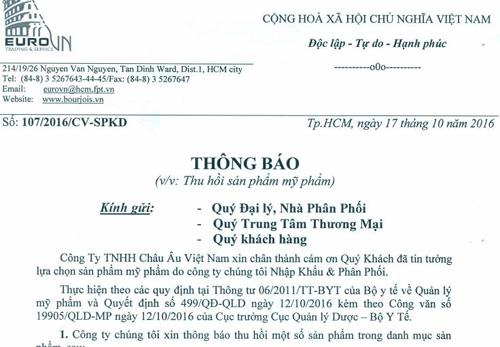 Công ty TNHH Châu Âu Việt Nam bị thu hồi 3 sản phẩm mỹ phẩm - Ảnh 3