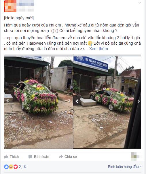 Chiếc xe dâu được trang trí nhiều hoa 'nhất quả đất' bị dân mạng chê 'cạn lời' - Ảnh 1