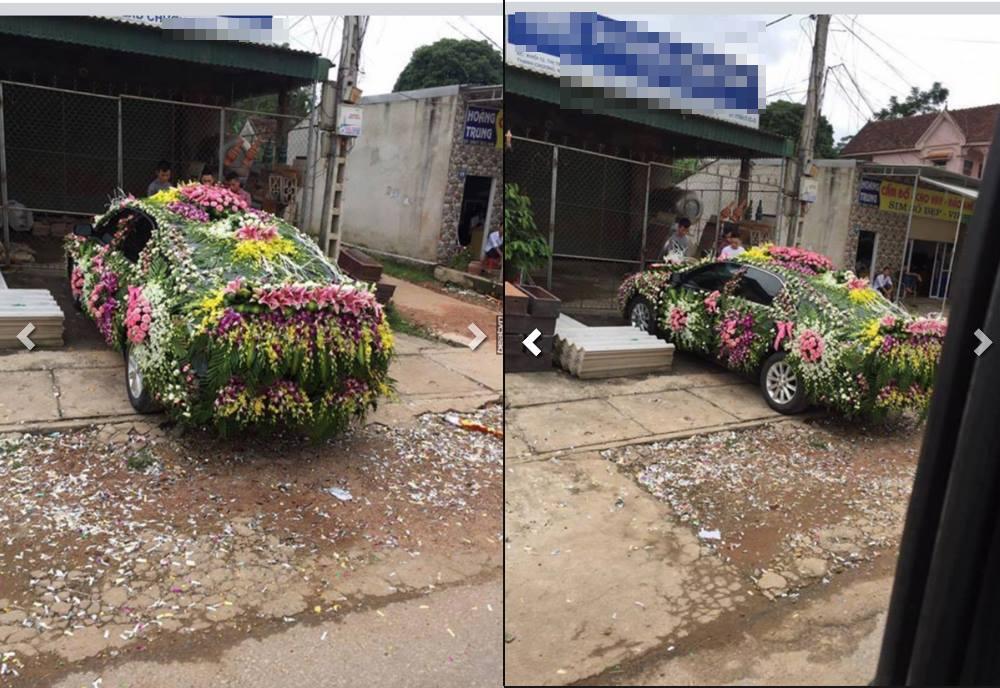 Chiếc xe dâu được trang trí nhiều hoa 'nhất quả đất' bị dân mạng chê 'cạn lời' - Ảnh 2