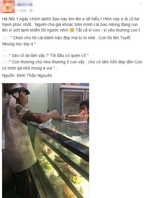Bức ảnh người cha nghèo mua bánh sinh nhật cho con gây xúc động cộng đồng mạng - Ảnh 1
