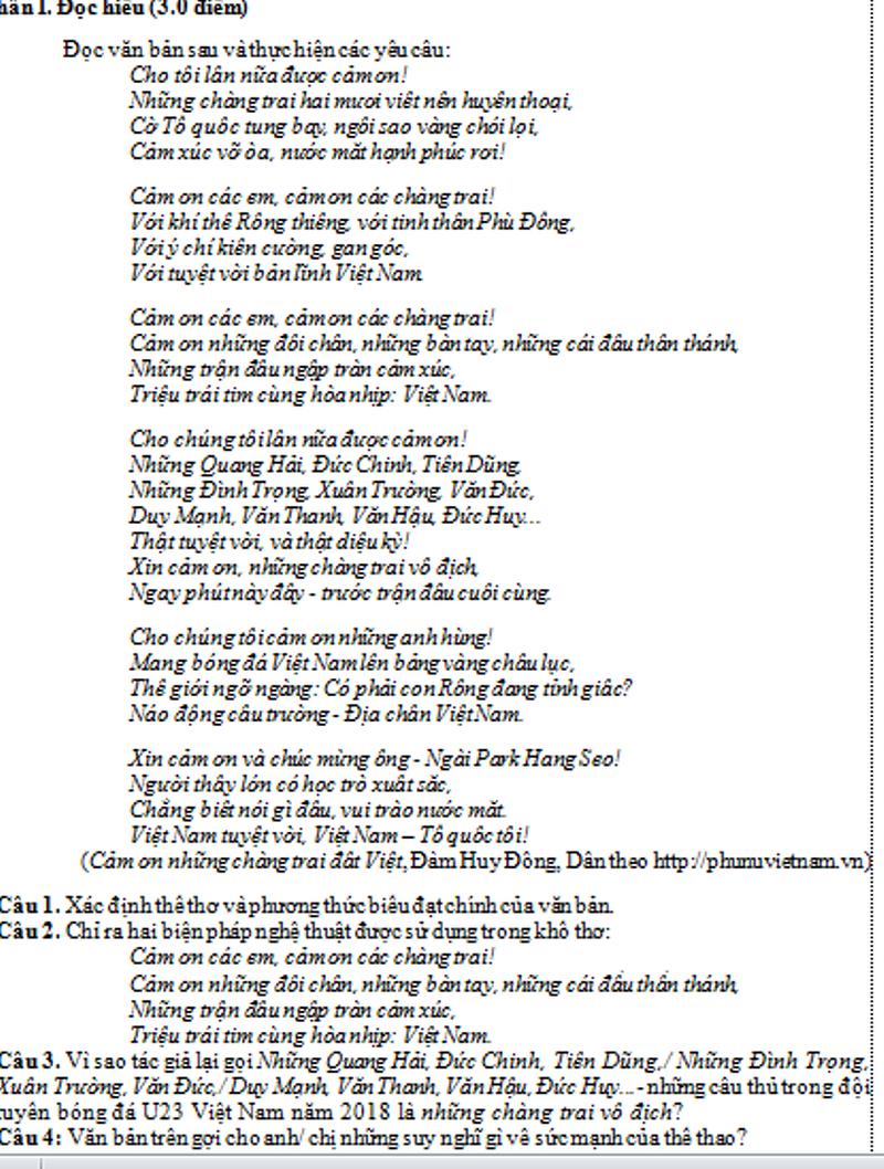 Quang Hải, Tiến Dũng được đưa vào đề thi văn ở Bình Dương - Ảnh 1