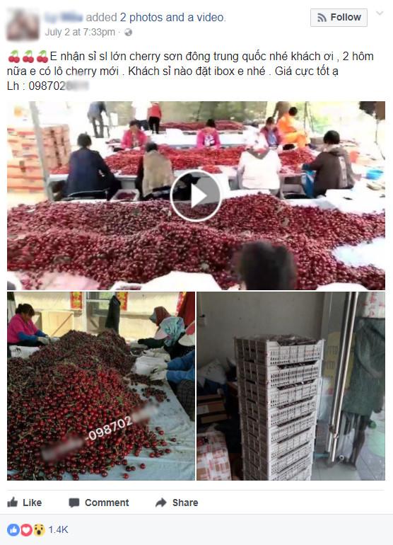 """""""Giật mình"""" giá Cherry Trung Quốc trên thị trường online - Ảnh 1"""