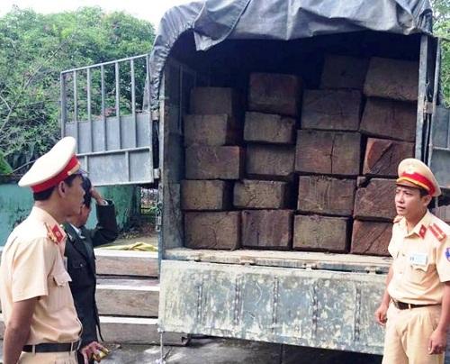 CSGT Thừa Thiên - Huế liên tiếp bắt giữ xe tải chở gỗ lậu - Ảnh 1