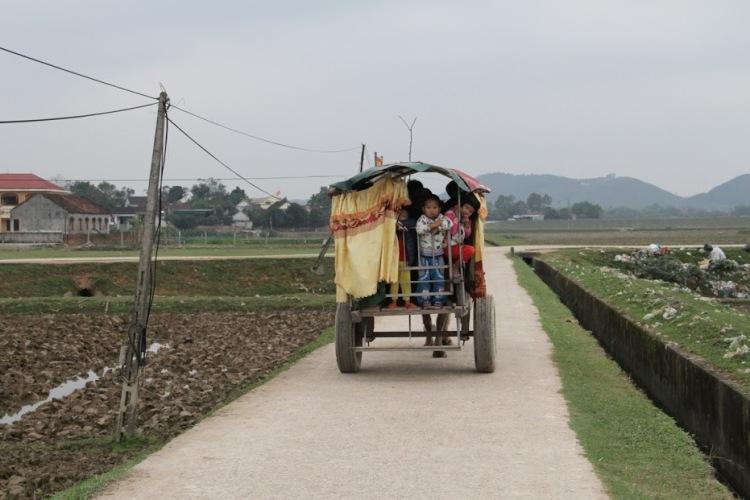 Người đàn ông tật nguyền hàng ngày chở học sinh đến trường bằng xe trâu - Ảnh 3