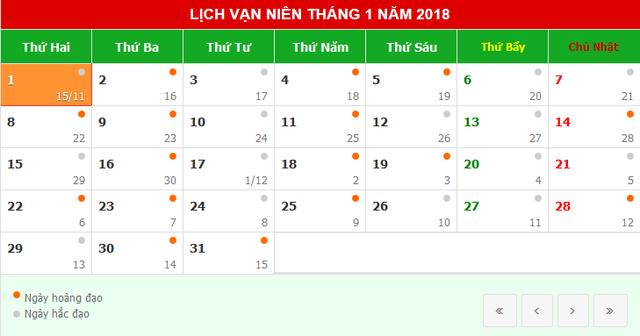 Lịch nghỉ Tết dương lịch 2018 - Ảnh 1