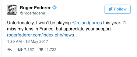 Roger Federer không dự Roland Garros, dồn sức cho Wimbledon - Ảnh 1