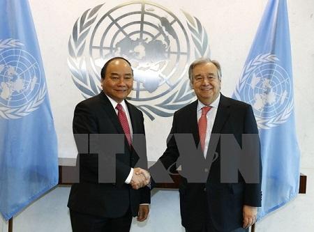 Thủ tướng Nguyễn Xuân Phúc hội đàm với Tổng thư ký Liên hợp quốc - Ảnh 1