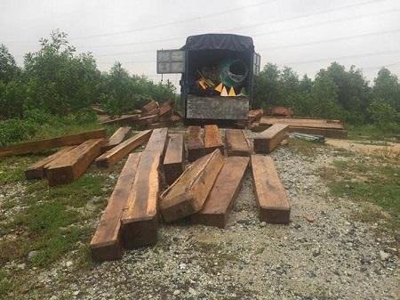 2 cảnh sát bị thương khi truy bắt xe chở gỗ lậu - Ảnh 1