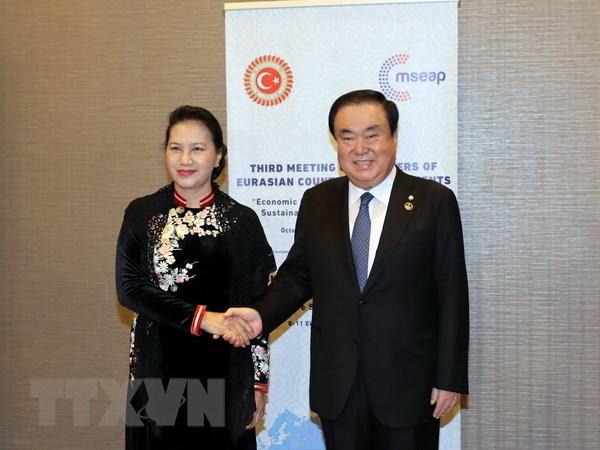 Chủ tịch Quốc hội Nguyễn Thị Kim Ngân hội kiến Chủ tịch Quốc hội Hàn Quốc - Ảnh 1