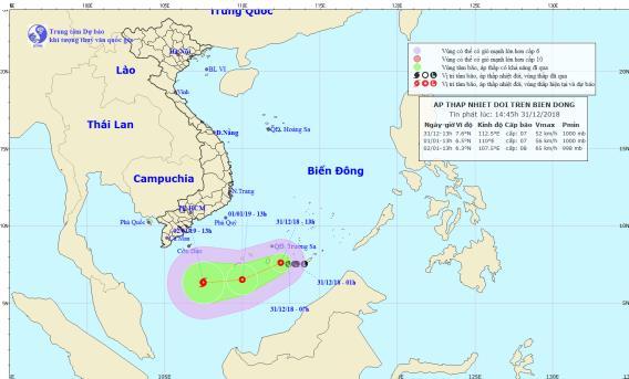 Áp thấp nhiệt đới giật cấp 9 trên Biển Đông áp sát Trường Sa - Ảnh 1