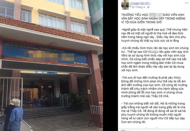 """Xôn xao thông tin giáo viên ở Sài Gòn phạt học sinh lớp 1 """"ngậm dép"""" - Ảnh 1"""