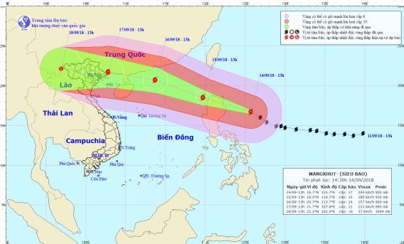 Trưa mai (15/9), siêu bão MANGKHUT giật trên cấp 17 vào Biển Đông - Ảnh 1