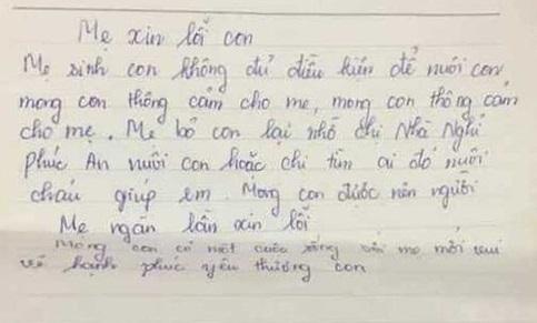 Bức thư để cạnh bé trai sơ sinh bị bỏ rơi trước cổng nhà nghỉ ở Hà Tĩnh viết gì? - Ảnh 1