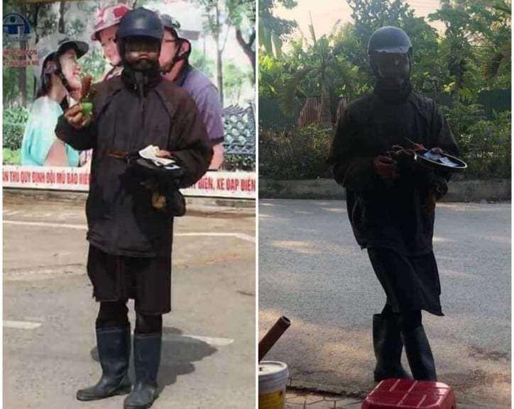 Người dân giáp mặt với người đàn ông bôi mặt đen xì, cầm đầu gà xin tiền ở Hà Nội nói gì? - Ảnh 1