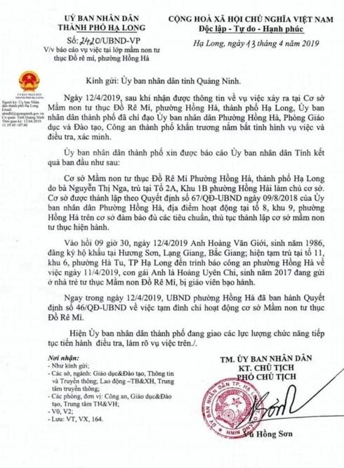 Vụ 2 cô giáo mầm non ở Quảng Ninh quăng trẻ xuống nệm: Cơ quan công an vào cuộc - Ảnh 1