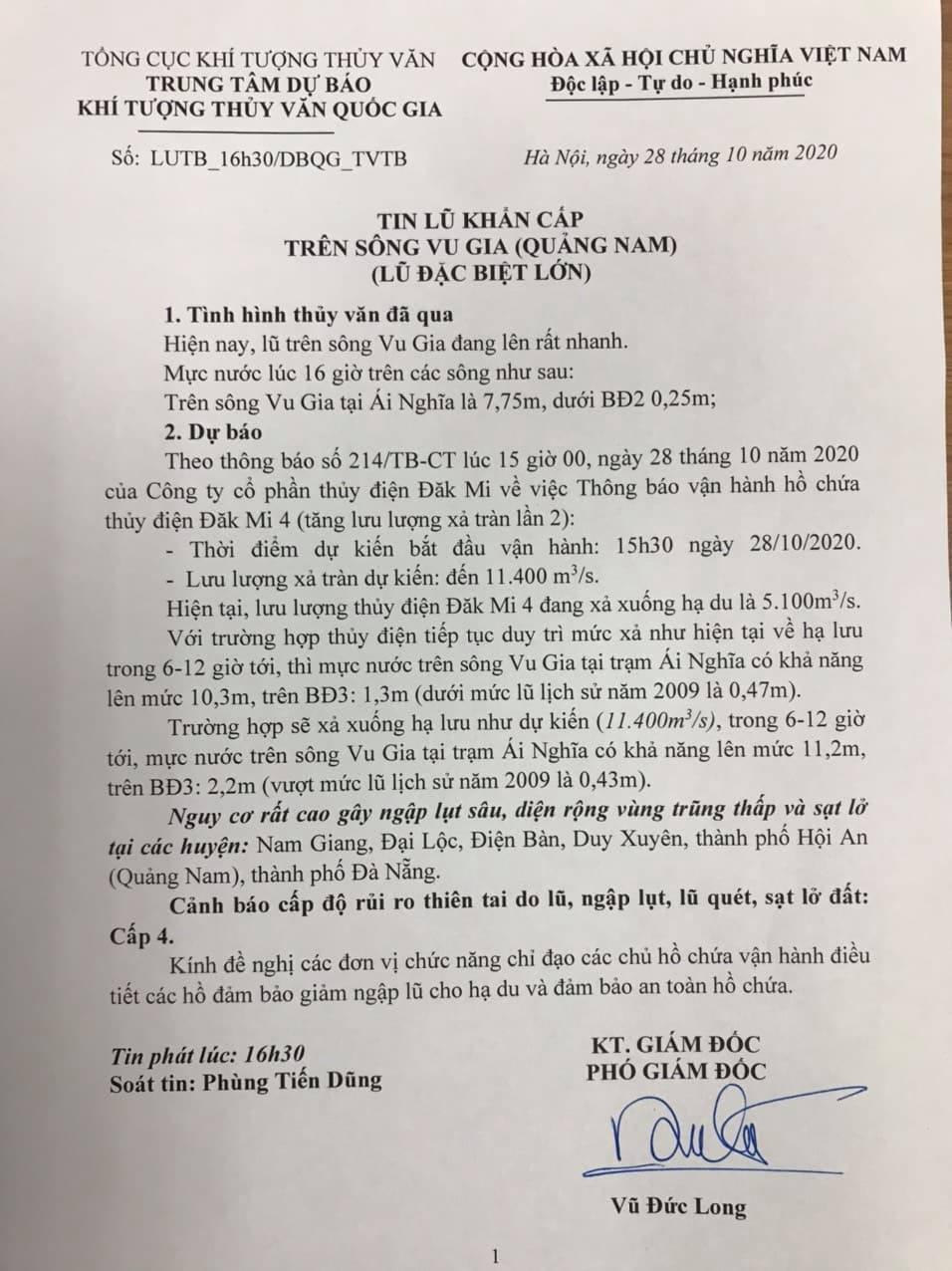 Thủy điện Đăk Mi 4 xả lũ, Quảng Nam đối diện lũ lịch sử - Ảnh 1