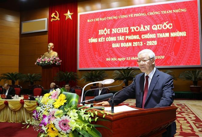 Tổng Bí thư, Chủ tịch nước Nguyễn Phú Trọng chủ trì Hội nghị toàn quốc tổng kết công tác phòng, chống tham nhũng giai đoạn 2013-2020 - Ảnh 1