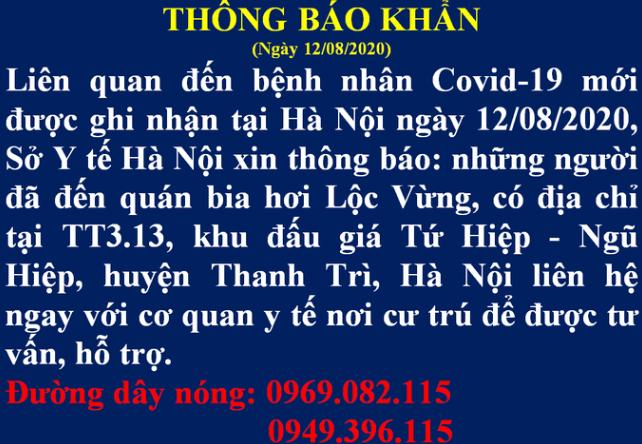 Hà Nội thông báo khẩn tìm người đến quán bia hơi Lộc Vừng - Ảnh 1