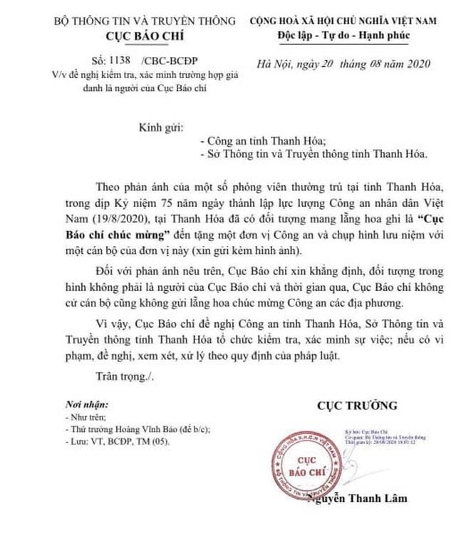 Xác minh nghi vấn giả danh Cục Báo chí tặng hoa Công an tỉnh Thanh Hóa - Ảnh 1