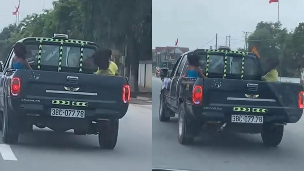 Vụ xe bán tải chở 3 cháu nhỏ sau thùng, chạy với tốc độ 90km/h: CSGT tỉnh Hà Tĩnh nói gì? - Ảnh 1
