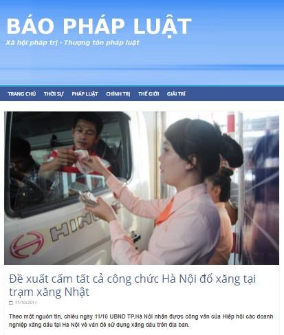 """Trang web mạo danh Sở Tư pháp Hà Nội, đăng tin thất thiệt """"cấm công chức đổ xăng tại trạm xăng Nhật"""" - Ảnh 1"""