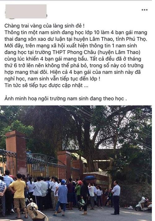 """Bố nam sinh làm bạn gái có thai ở Phú Thọ: """"Chuyện con trai tôi làm 4 bạn nữ có bầu là do ai đó dựng chuyện"""" - Ảnh 1"""