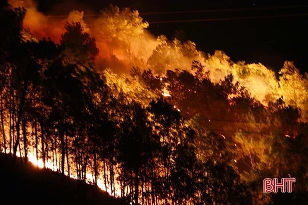 """Rừng ở Hà Tĩnh lại cháy đỏ rực, hàng trăm người xuyên đêm vật lộn với """"giặc lửa"""" - Ảnh 1"""