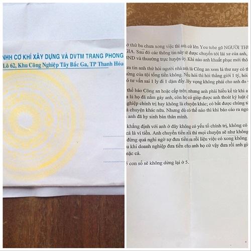 Bức thư tống tiền Phó chủ tịch ở Thanh Hóa 5 tỷ đồng như phim trinh thám - Ảnh 1