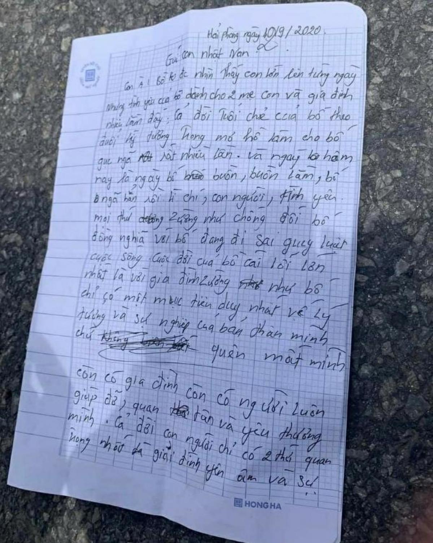 Vụ người cha trẻ nhảy cầu tự tử ở Hải Phòng: Bức thư gửi con trai 2 tuổi có nội dung gì? - Ảnh 1