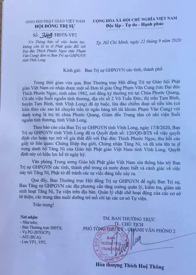 Vì sao trụ trì chùa Phước Quang phải hoàn tục, xóa tên tu sĩ? - Ảnh 1