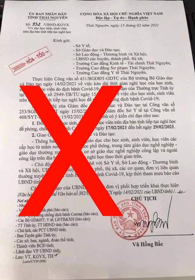 Giả danh Chủ tịch tỉnh về hưu ký văn bản cho học sinh nghỉ học vì COVID-19 ở Thái Nguyên - Ảnh 1