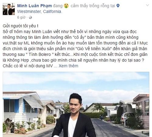 Minh Luân viết tâm thư xin lỗi Ninh Dương Lan Ngọc vì ồn ào sau chia tay - Ảnh 1