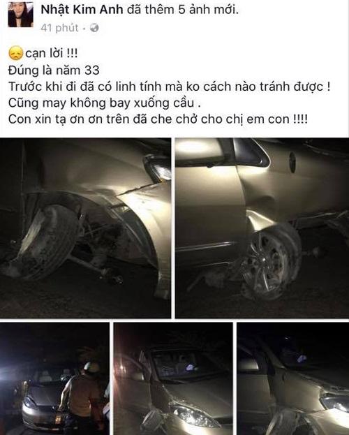 Nhật Kim Anh bị tai nạn ô tô trên đường đi diễn ở miền Tây - Ảnh 1