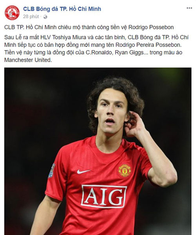 Cựu cầu thủ MU sẽ chơi bóng cho CLB TP.Hồ Chí Minh - Ảnh 1