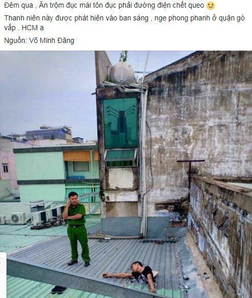 Sự thật nam thanh niên bị mắc kẹt suốt đêm trên mái tôn ở Sài Gòn - Ảnh 1