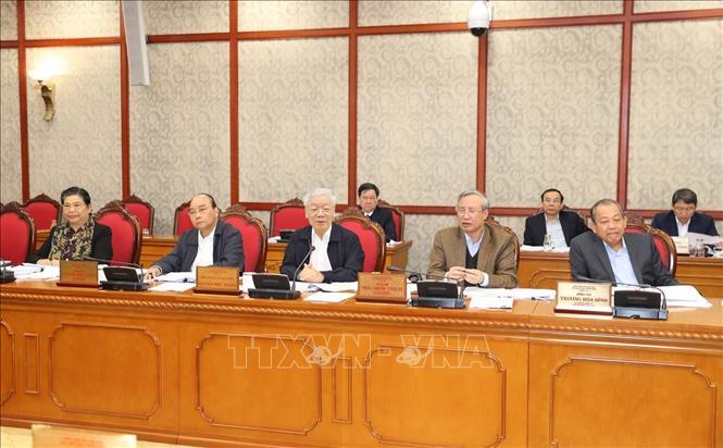 Tổng Bí thư, Chủ tịch nước Nguyễn Phú Trọng chủ trì họp Bộ Chính trị - Ảnh 3