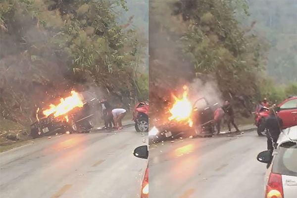 Tin tai nạn giao thông mới nhất ngày 16/3/2019: Xế hộp bốc cháy dữ dội sau va chạm xe bán tải - Ảnh 2