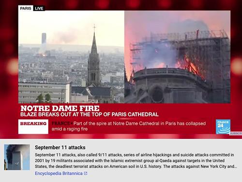 """YouTube mắc """"sai lầm tai hại"""" nhận nhầm vụ cháy Nhà thờ Đức Bà Paris thành khủng bố 11/9 tại Mỹ - Ảnh 1"""
