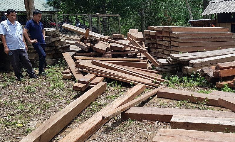 Quảng Bình: Phát hiện gỗ lậu được giấu trong phòng làm việc tại UBND xã - Ảnh 1