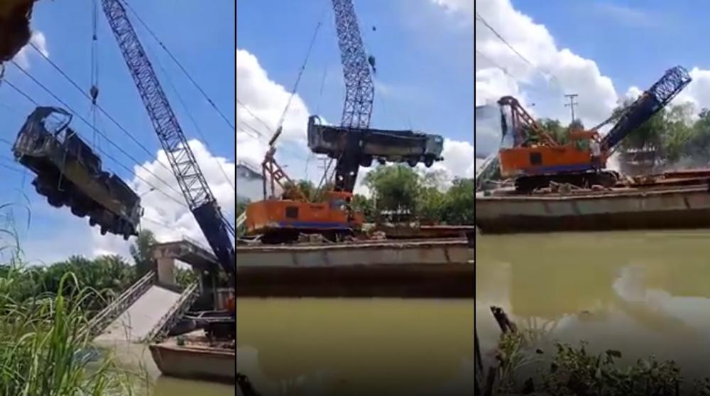 Đang trục vớt xe tải vụ sập cầu ở Đồng Tháp, cần cẩu bất ngờ gãy đôi - Ảnh 1