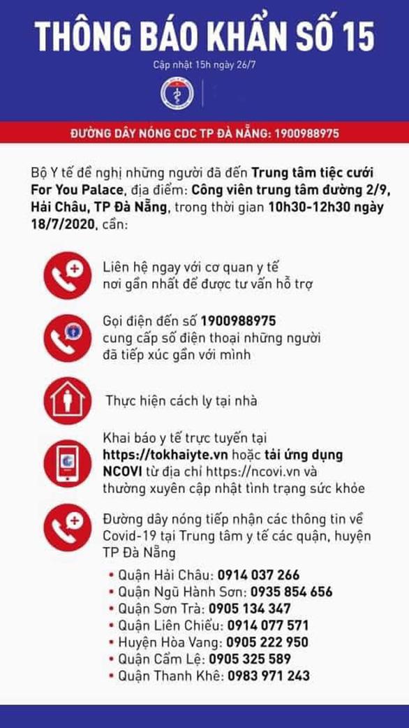 Bộ Y tế ra thông báo khẩn tìm người đã đến trung tâm tiệc cưới For You Palace tại Đà Nẵng - Ảnh 1